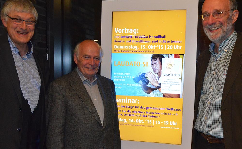 Klaus Hagedorn (Forum St. Peter), Norbert Mette (TU Dortmund) und Werner Onken (Ringvorlesung zur Postwachstumsökonomie)