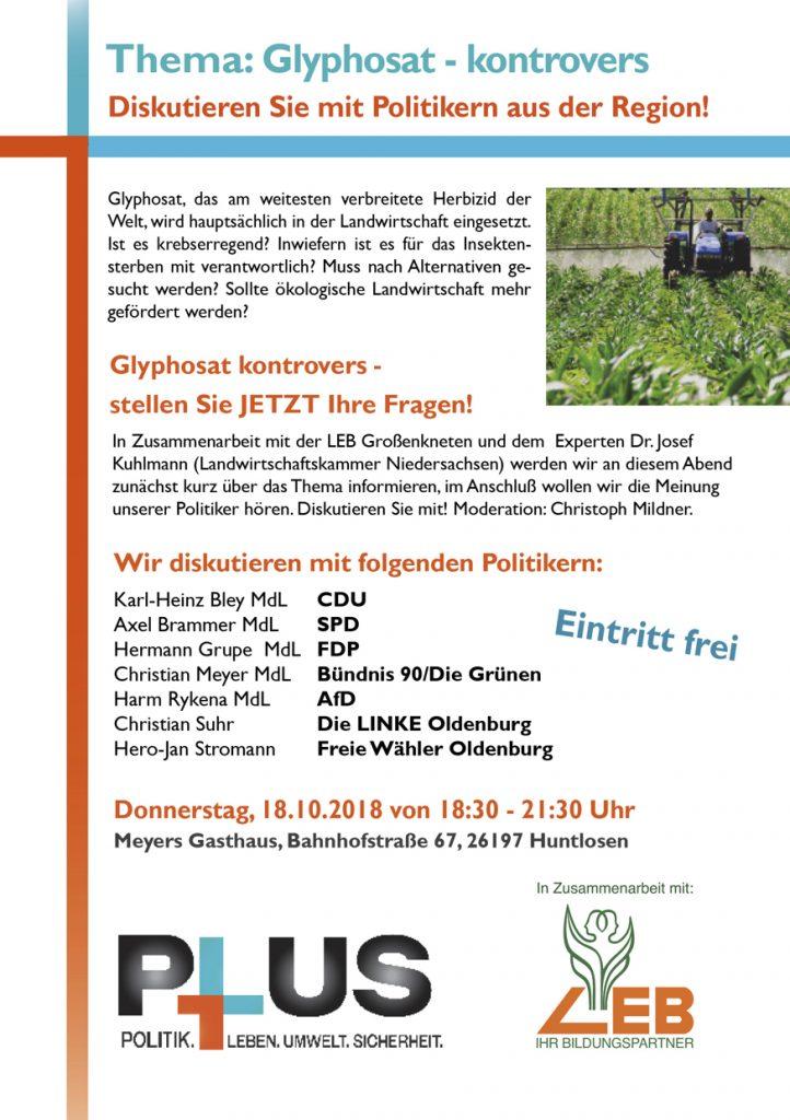Flyer zur Veranstaltung Glyphosat – kontrovers.