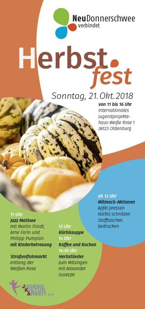 Flyer Herbstfest Neudonnerschwee 2018. Gestaltung: mensch und umwelt.
