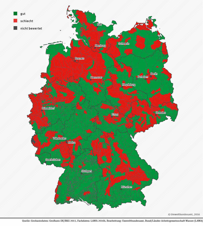 Chemischer Zustand der Grundwasserkörper in Deutschland.
