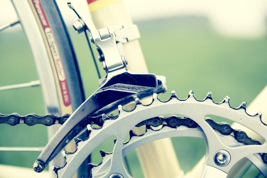 Eine Kettenschaltung am Fahrrad.