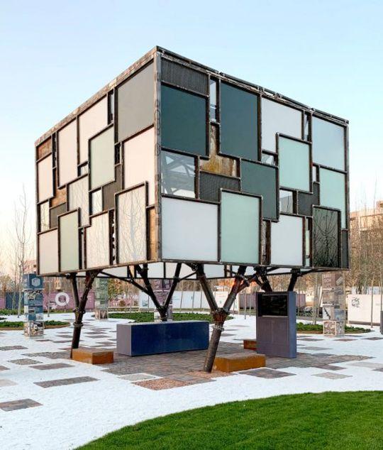 Recycling-Pavillon auf der Bundesgartenschau. © Felix Heisel