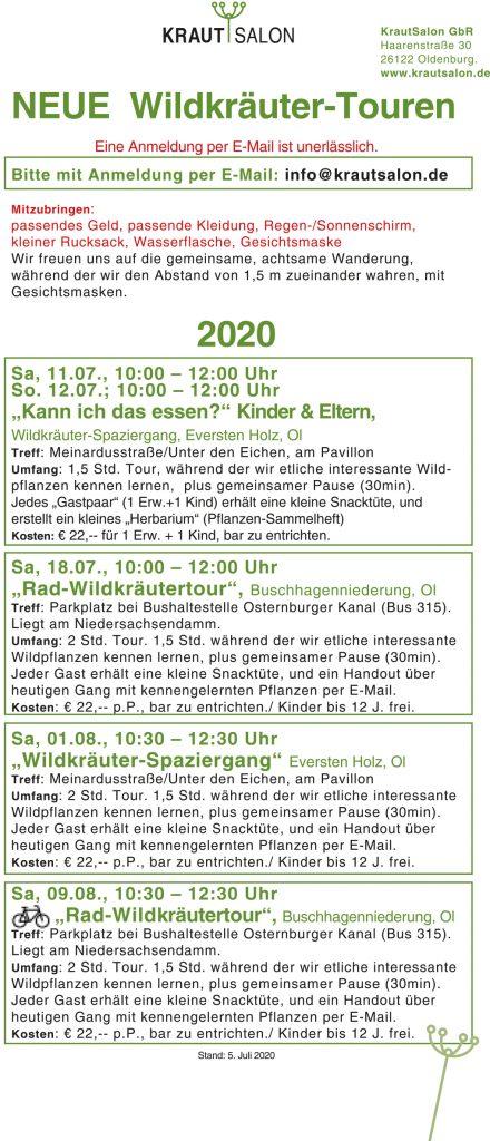 KrautSalon Veranstaltungen Sommer 2020.