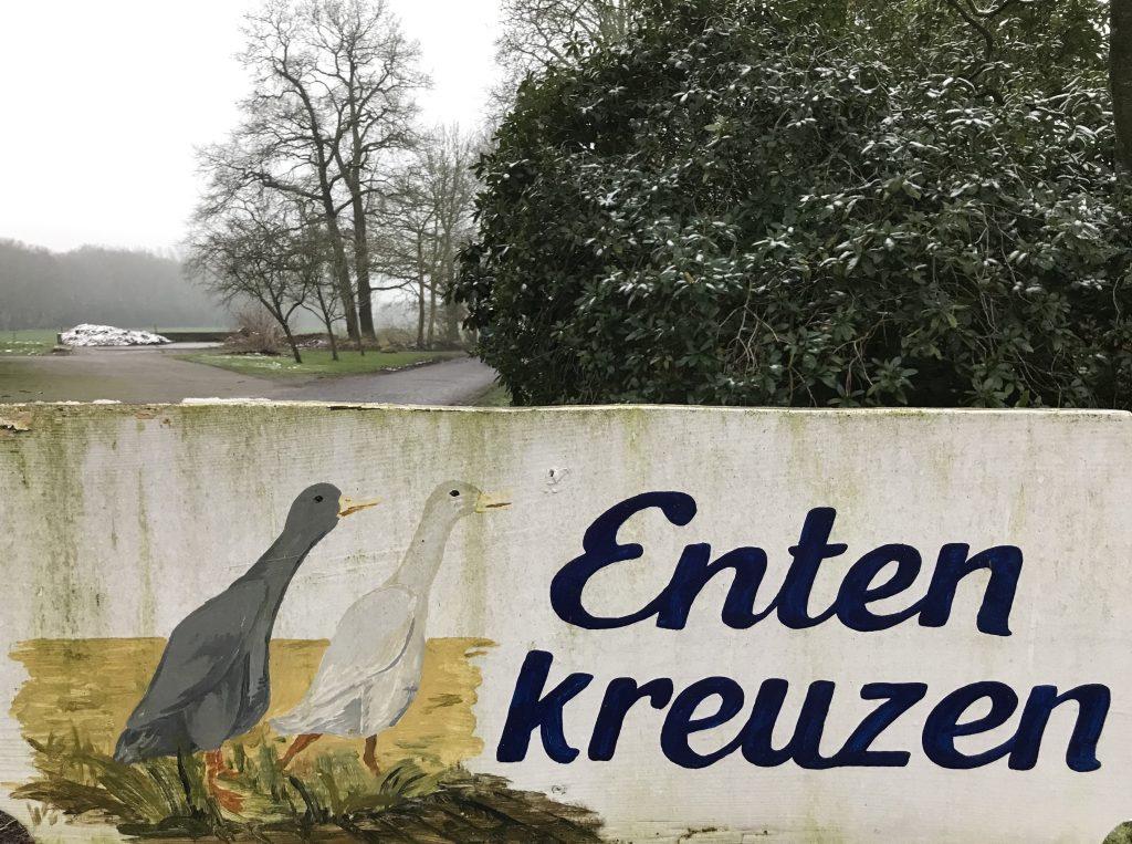 "Schild ""Enten kreuzen""."